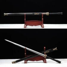 Top Quality Long Chinese Han Jian 1095 Steel+ Damascus Blade Sword Copper fiting