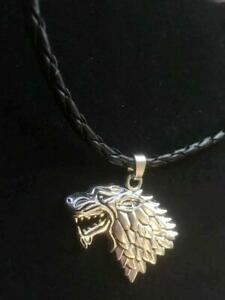 Silver Wolf Head Necklace Viking Game Thrones Stark Direwolf Dire GOT Plait Cord