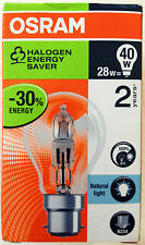 2 x Osram Halogen Dimmable Natural Light Bulbs B22. 28W = 40W. 30% Energy Saving