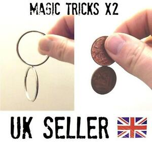 Cling Rings & Spinning Coins (2xtricks) close up magic trick.-easy to do