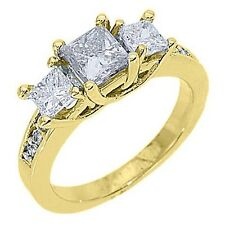 1.63 CARAT WOMENS 3-STONE PAST PRESENT FUTURE DIAMOND RING PRINCESS YELLOW GOLD