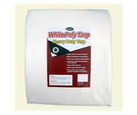 White Heavy Duty Tarp 12' X 20' Canopy Replacement Durable Fabric UV Resistant