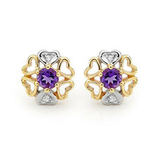 GENUINE NATURAL DIAMOND AMETHYST 9K SOLID YELLOW GOLD STUDS EARRINGS