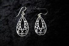 Sterling Silver Earrings with Filigree Scroll Teardrop Shape Elegant