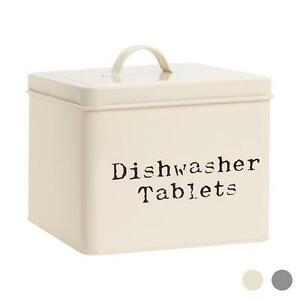 Dishwasher Tablets Storage Container Box Vintage Tin Metal Home Kitchen Cream