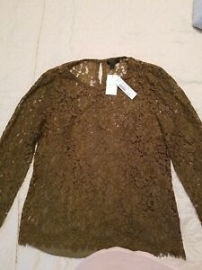 J Crew Lace Top Dark Green Long sleeve size 8 NWT