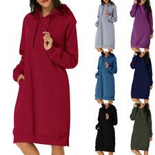 US Women Hoodie Hooded Sweatshirt Dress Ladies Long Sleeve Pullover Jumper Dress