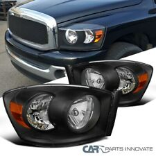For 06-09 Dodge Ram 1500 2500 3500 Pickup Black Headlights Headlamps Replacement