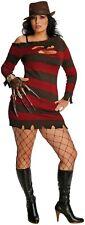 Ladies Miss Freddie Krueger Halloween TV Film Fancy Dress Costume Outfit 14-18