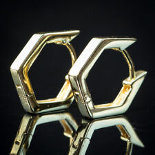 14K Gold Plated Hoops Sterling Silver Solid Hoop Huggie Earrings For Men