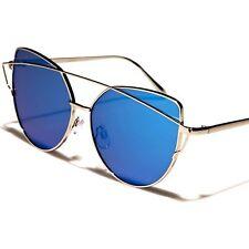 Designer Fashion Stylish Modern Womens Blue Mirrored Lens Cat Eye Sunglasses