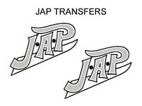 JAP Tank Transfers Decals Set Motorcycle Sold as a Pair Black Silver