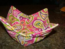 Microwave Bowl Holder Pink Paisley Print Bowl Cozy Bowl Potholder  Bowl Cover