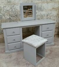 HANDMADE AYLESBURY (GREY) DOUBLE DRESSING TABLE MIRRORED+STOOL FURNITURE SET!!!!