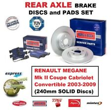FOR RENAULT MEGANE Coupe Convertible 2003-2009 REAR AXLE BRAKE PADS + DISCS SET