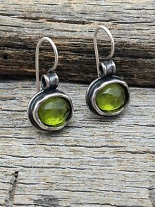 Silpada W1455 Daintree Hammered Sterling Silver Green Glass Earrings