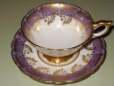 New listing Lovely Gold Leaf Design on Purple Border Royal Stafford Pedestal Cup & Saucer