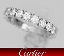 Cartier Platinum Brilliant Cut Diamond Wedding Eternity Band Ring 1.45 CT Sz 5