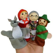 4pcs Little Red Riding Hood Wooden Headed Finger Puppets Doll Fairy Tale Story