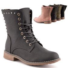 Neu Damen Schnür Stiefeletten Biker Boots Reißverschluss Strass 1838 Schuhe