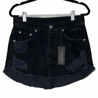 NEW Carmar Adriana Distressed Denim Mini Skirt Raw Fringe Hem Rounded Size 25