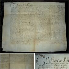 RARE LARGE CROMWELLIAN VELLUM INDENTURE DATED 1651