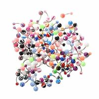 14G Belly Ring Assorted Lot of 100 Belly Button Rings Navel Banana Piercing G8I2