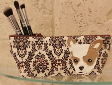 Chihuahua Make Up Bag Cosmetic Case Retro Style Floral Handmade Dog Lovers Gift