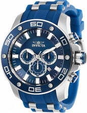 Invicta Men's Pro Diver Quartz Chrono 100m S. Steel Blue Silicone Watch 26085