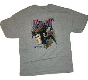 NWT Marvel Comics X-Men GAMBIT Card Suits Heather Gray t-shirt Men's Size XL