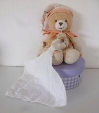 Doudou et compagnie***Doudou ours arlequin velours beige orange mouchoir blanc