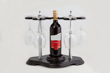 Cadre En bois Acajou VICENZA Vin Présentation Support 6 verres 1 bouteille