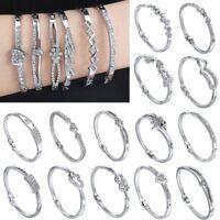 Crystal Rhinestone Love Hollow Bracelet Bangle Cuff Women Lady Wedding Jewellery