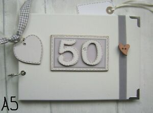 PERSONALISED 50TH birthday .A5  SIZE. PHOTO ALBUM/SCRAPBOOK/MEMORY BOOK.