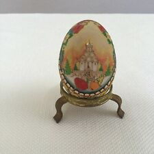 WOODEN RUSSIAN HAND CARVED PAINTED EGG GOLD GILT 1998 EASTER SIGNED