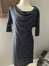 Adrianna Pappel Black Metallic Lace 3/4 Sleeve Stretch Sheath Dress 10P 10 P