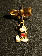 Mickey Mouse Dangling from Golden Bowtie tie-tack Stampped Walt Disney Prod