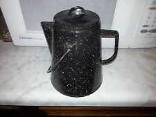 Enameled Coffee Pot  Bail Handle Black with white speckles enamelware campfire