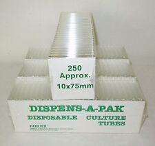 1000 (4 Packs) New Borex Glass Dispens-a-Pak 10x75mm Test Culture Tube Tubes