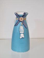 Vase blau maritim Keramik Fisch Deko Sommer Tischdeko Meer
