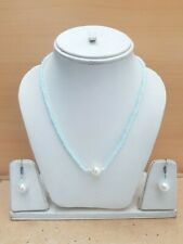 74.50Cts. Faceted Quartz Beads & Peral Gemstone Handmade Necklace Set For Women