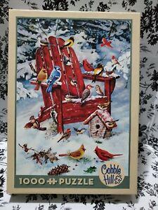 Cobble Hill Adirondack Birds 1000 Piece Jigsaw Puzzle - Winter/ Snow Complete