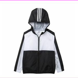 Adidas Boy's Colorblocked Hooded Windbreaker Jacket White Size L 14/16