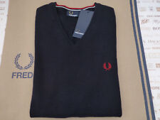 FRED PERRY K3200 Jumper Classic TIPPED V-Neck Size XL Navy Wool Mix Top New R£75