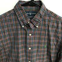 🌴🏇Ralph Lauren Men's Short Sleeve Button Down Shirt Medium M Plaid🏇Free Ship