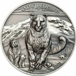 2017 Mongolia 500 Togrog Snow Leopard Antiqued 1 oz .999 Silver Coin - 999 Made