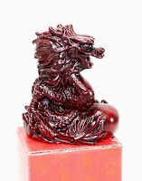 Paperweight Dragon Resin Red Oriental Asian Desk Decor. Collectible Figurine