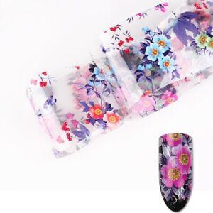 SUMMER FLOWER Nail Art Foil Clear Transfer Glitter Stickers For Nails UK