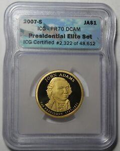 2007-S ICG Preuve 70 DCAM John Adams Présidentiel Dollar~ Elite Kit