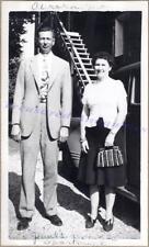 1941 Couple Woman Wearing Bakelite Bracelet Bead Purse Wing Vamp Shoes Photo